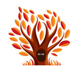 Vector art illustration of branchy tree with den. Two eyes of an Stock Photography