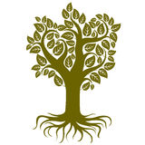 Vector art illustration of tree with strong roots. Tree of life symbolic graphic image, environment conservation theme Royalty Free Stock Photography