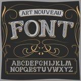 Vector art nouveau label font on a dark backround. Stock Images