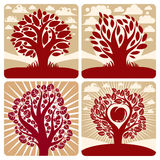 Vector art red trees with ripe apples on beautiful cloudy autumn Royalty Free Stock Photos
