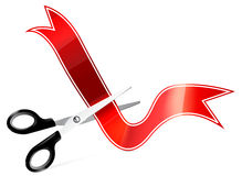 Vector art of scissors cutting ribbon Stock Photo