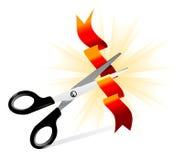Vector art of scissors cutting ribbon Stock Photos