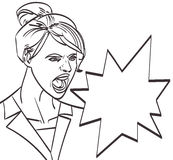 Vector art of screaming woman, lineart isolated eps 10 Royalty Free Stock Photos