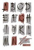 Vector art sketched stylized grunge alphabet. Hand drawn letters. Stock Image