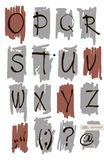 Vector art sketched stylized grunge alphabet. Hand drawn letters. Royalty Free Stock Photo