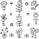 Vector art of spring flower leaf doodles Royalty Free Stock Photos