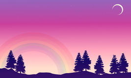 Vector art of spruce with rainbow landscape. Collection Stock Photography