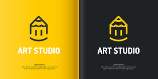 Vector Art Studio. Conceptual logo and label art Studio. Modern logo,  graphics with a linear image pencil on the yellow and black backgrounds Stock Photography