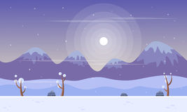 Vector art style mountain at winter background game Royalty Free Stock Photography