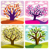Vector art trees with swing on beautiful cloudy spring landscape. Setting sun with sunbeams view, season theme illustrations collection Stock Image