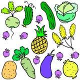 Vector art of vegetable set various doodles Stock Photos
