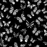 Vector. Art white butterflies on black, colors. Cute background for paper, design of fabric, wrappers and wallpaper. seamless patt vector illustration