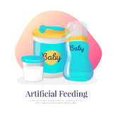 Vector artificial feeding goods illustration. Newborn accessories in cartoon style Royalty Free Stock Photos