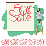 Vector artist draws on the poster message about the sale Royalty Free Stock Photo
