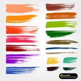 Vector artistic backdrop. Saved palette file brushes.  Colored paint, acrylic brush, gouashe brush stroke, line or texture. Colorful vintage design elements royalty free illustration