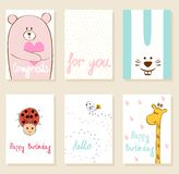 Vector artistic card. Collection of cute artistic cards for kids. Funny animals in vector Royalty Free Stock Photo