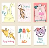 Vector artistic card. Collection of cute artistic cards for kids. Funny animals in vector Stock Photography