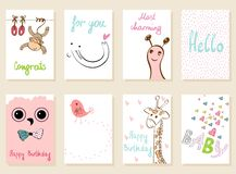 Vector artistic card. Collection of cute artistic cards for kids. Funny animals in vector Royalty Free Stock Photos