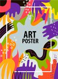 Vector artistic colorful hand drawn poster, flyer, background, card with text space. Art brochure Royalty Free Stock Photography
