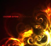 Fire floral background. Vector artistic corner design with fire Royalty Free Stock Photos