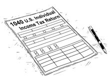 Vector Artistic Drawing Illustration of 1040 Individual Income Tax Return Form. Vector artistic pen and ink drawing illustration of 1040 Income Tax Return Form Stock Photos
