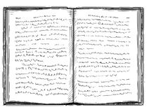 Vector Artistic Drawing Illustration of Old Open Book. Vector artistic pen and ink drawing illustration of old open book with undefined abstract handwritten text Royalty Free Stock Photo
