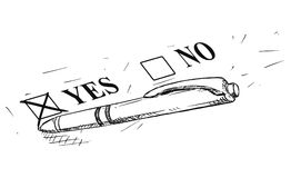 Vector Artistic Drawing Illustration of Yes and No Questionnaire Form and Ballpoint Pen Stock Image