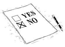Vector Artistic Drawing Illustration of Yes and No Questionnaire Form. Vector artistic pen and ink drawing illustration of yes and no questionnaire form Stock Photo