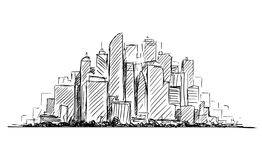 Vector Artistic Drawing Sketch of Generic City High Rise Cityscape Landscape with Skyscraper Buildings. Vector artistic sketchy pen and ink drawing illustration vector illustration