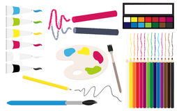Vector artistic equipment collection Royalty Free Stock Photos