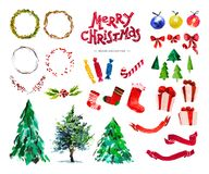 Vector artistic hand drawn collection of traditional Merry Christmas and Happy New Year decor elements isolated on white backgroun. D. Perfect for congratulation Royalty Free Stock Images