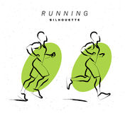 Vector artistic hand drawn sketch of running human silhouette. Isolated on white background. Sport sketch illustration. Running jogging man figure. Athlete run Royalty Free Stock Photo