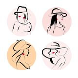 Vector artistic hand drawn stylish young lady portrait set isolated on white background. Stock Photography
