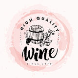 Vector artistic hand drawn wine logo Royalty Free Stock Photography