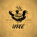 Vector artistic hand drawn wine logo  on white background. Stock Photography