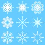 Vector artistic icy abstract crystal snow flakes. Vector collection of artistic icy abstract crystal snow flakes isolated on background as winter december stock illustration
