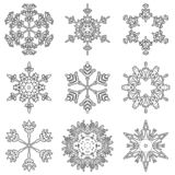 Vector artistic icy abstract crystal snow flakes. Vector collection of artistic icy abstract crystal snow flakes isolated on background as winter december vector illustration
