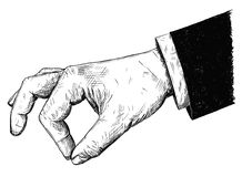 Vector Artistic Illustration or Drawing of Businessman Hand in Suit Holding Something Small Between Pinch Fingers. Vector artistic pen and ink drawing Royalty Free Stock Image