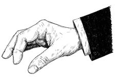 Vector Artistic Illustration or Drawing of Businessman Hand in Suit Holding Something Small Between Pinch Fingers. Vector artistic pen and ink drawing Stock Photography