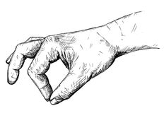 Vector Artistic Illustration or Drawing of Hand Holding Something Small Between Pinch Fingers. Vector artistic pen and ink drawing illustration of hand holding Royalty Free Stock Image
