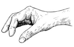 Vector Artistic Illustration or Drawing of Hand Holding Something Small Between Pinch Fingers. Vector artistic pen and ink drawing illustration of hand holding Stock Photos