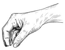 Vector Artistic Illustration or Drawing of Hand Holding Something Small Between Pinch Fingers. Vector artistic pen and ink drawing illustration of hand holding Royalty Free Stock Photos