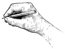 Vector Artistic Illustration or Drawing of Hand Writing or Sketching With Pencil. Vector artistic pen and ink drawing illustration of hand writing or sketching royalty free illustration
