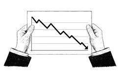 Vector Artistic Illustration or Drawing of Hands Holding Document With Falling Financial Chart or Graph. Vector artistic pen and ink drawing illustration of Stock Photography