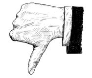 Vector Artistic Illustration or Drawing of Thumb Down Businessman Hand in Suit Gesture. Vector artistic pen and ink drawing illustration of thumb down Stock Photos