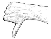 Vector Artistic Illustration or Drawing of Thumb Down Hand Gesture. Vector artistic pen and ink drawing illustration of thumb down hand gesture. Business concept Stock Images
