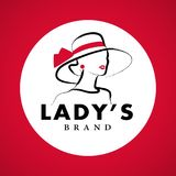 Vector artistic logo with hand drawn lady in hat portrait isolated on white background. vector illustration