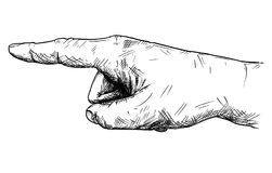 Vector Artistic Illustration or Drawing of Hand With Finger Pointing Left Direction. Vector artistic pen and ink drawing illustration of hand with finger Royalty Free Stock Photos