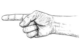Vector Artistic Illustration or Drawing of Hand With Finger Pointing Left Direction. Vector artistic pen and ink drawing illustration of hand with finger Royalty Free Stock Photo