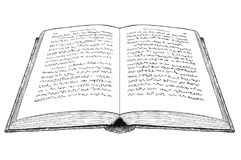 Vector Artistic Drawing Illustration of Old Open Book. Vector artistic pen and ink drawing illustration of old open book with undefined abstract handwritten text Stock Photo
